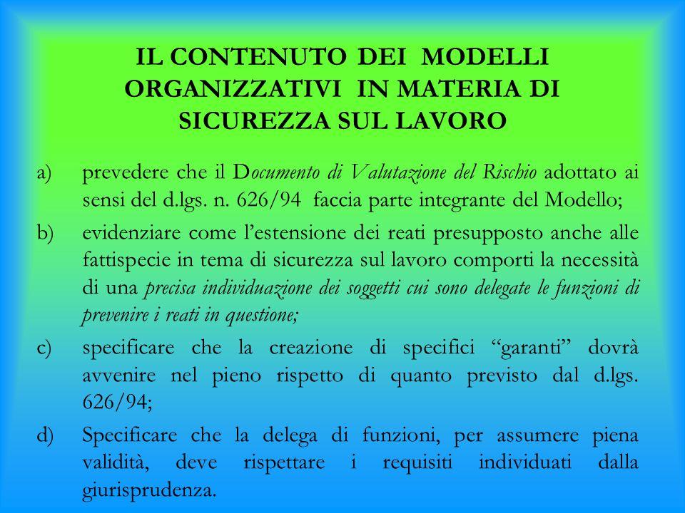 a)prevedere che il Documento di Valutazione del Rischio adottato ai sensi del d.lgs. n. 626/94 faccia parte integrante del Modello; b)evidenziare come