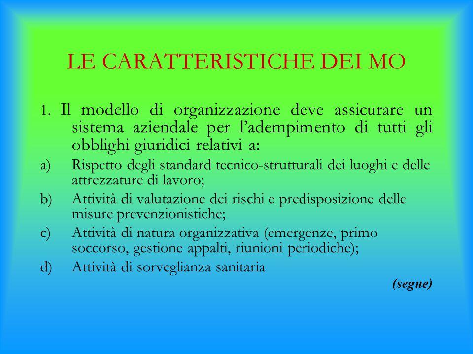 LE CARATTERISTICHE DEI MO 1. Il modello di organizzazione deve assicurare un sistema aziendale per l'adempimento di tutti gli obblighi giuridici relat
