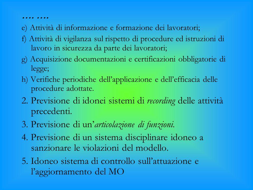 …. e) Attività di informazione e formazione dei lavoratori; f) Attività di vigilanza sul rispetto di procedure ed istruzioni di lavoro in sicurezza da