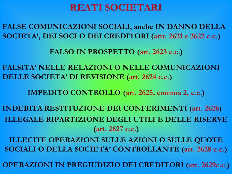 REATI SOCIETARI FALSE COMUNICAZIONI SOCIALI, anche IN DANNO DELLA SOCIETA', DEI SOCI O DEI CREDITORI (artt. 2621 e 2622 c.c.) FALSO IN PROSPETTO (art.