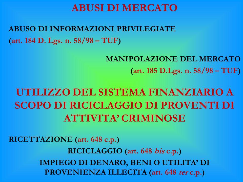 ABUSI DI MERCATO ABUSO DI INFORMAZIONI PRIVILEGIATE (art. 184 D. Lgs. n. 58/98 – TUF) MANIPOLAZIONE DEL MERCATO (art. 185 D.Lgs. n. 58/98 – TUF) UTILI