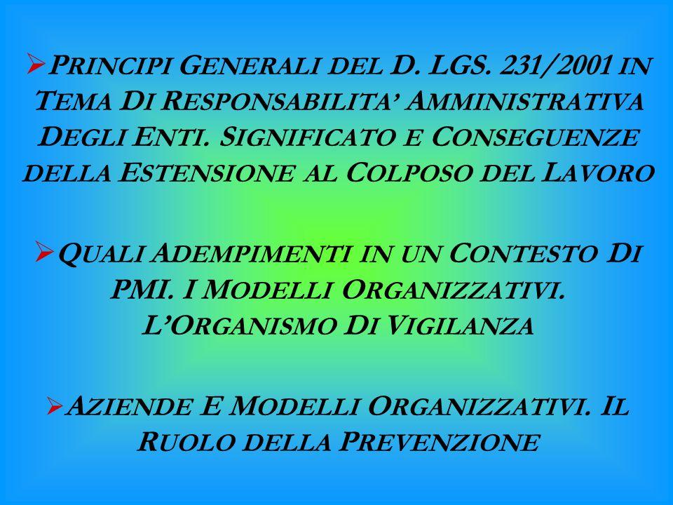  P RINCIPI G ENERALI DEL D. LGS. 231/2001 IN T EMA D I R ESPONSABILITA' A MMINISTRATIVA D EGLI E NTI. S IGNIFICATO E C ONSEGUENZE DELLA E STENSIONE A