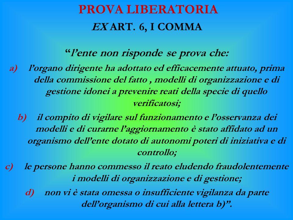 """PROVA LIBERATORIA EX ART. 6, I COMMA """"l'ente non risponde se prova che: a)l'organo dirigente ha adottato ed efficacemente attuato, prima della commiss"""