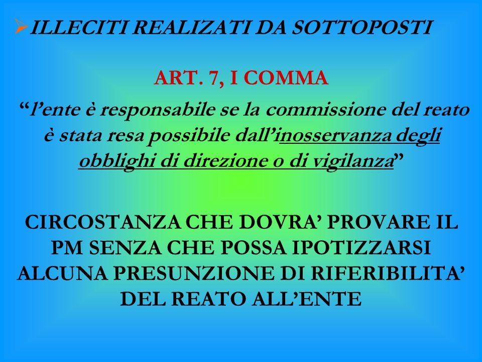 """ ILLECITI REALIZATI DA SOTTOPOSTI ART. 7, I COMMA """"l'ente è responsabile se la commissione del reato è stata resa possibile dall'inosservanza degli o"""