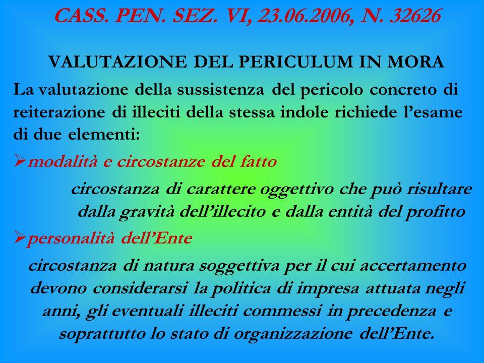 CASS. PEN. SEZ. VI, 23.06.2006, N. 32626 VALUTAZIONE DEL PERICULUM IN MORA La valutazione della sussistenza del pericolo concreto di reiterazione di i