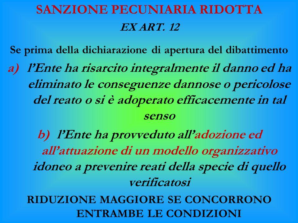 SANZIONE PECUNIARIA RIDOTTA EX ART. 12 Se prima della dichiarazione di apertura del dibattimento a)l'Ente ha risarcito integralmente il danno ed ha el