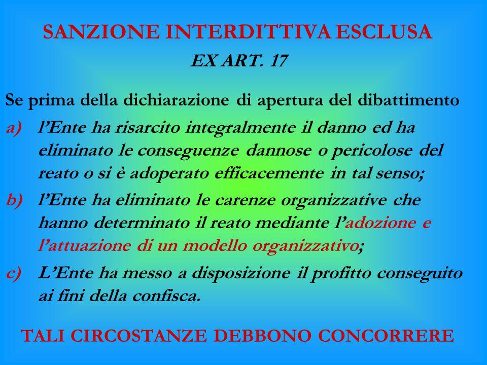 SANZIONE INTERDITTIVA ESCLUSA EX ART. 17 Se prima della dichiarazione di apertura del dibattimento a)l'Ente ha risarcito integralmente il danno ed ha