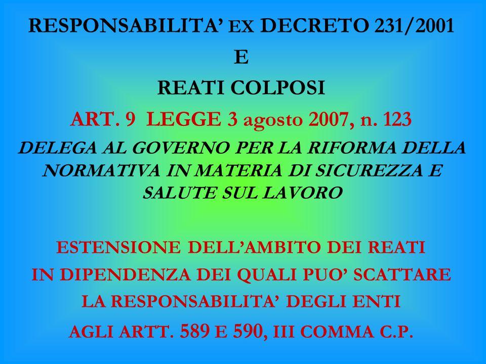 RESPONSABILITA' EX DECRETO 231/2001 E REATI COLPOSI ART. 9 LEGGE 3 agosto 2007, n. 123 DELEGA AL GOVERNO PER LA RIFORMA DELLA NORMATIVA IN MATERIA DI