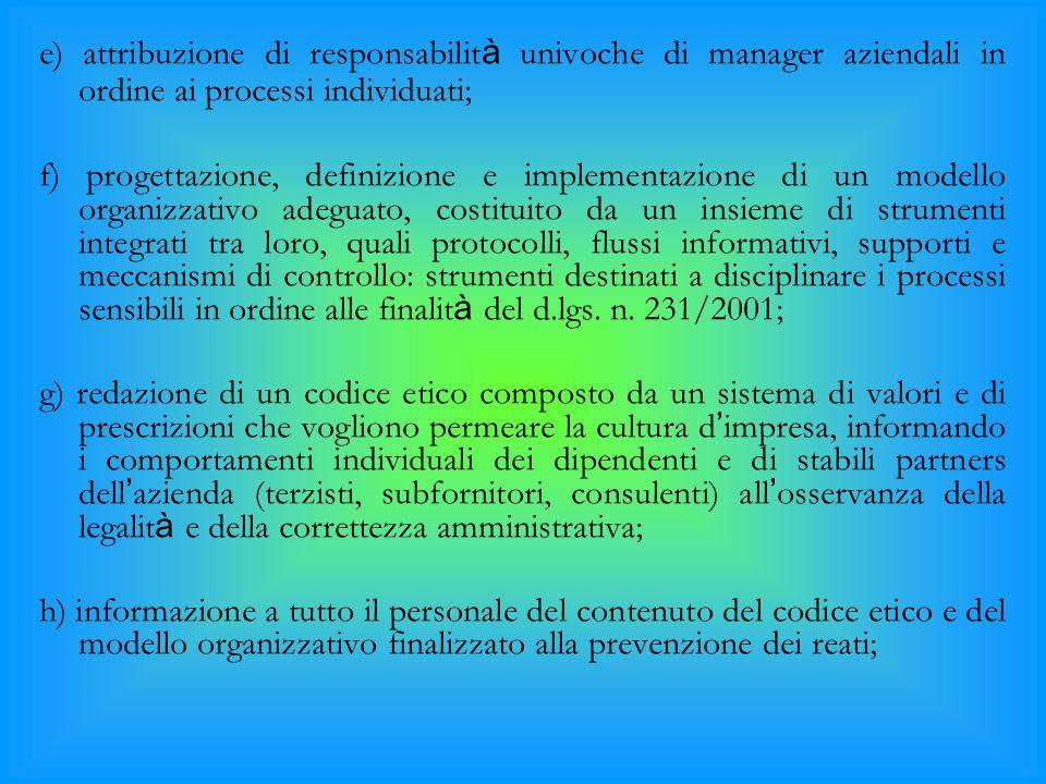 e) attribuzione di responsabilit à univoche di manager aziendali in ordine ai processi individuati; f) progettazione, definizione e implementazione di