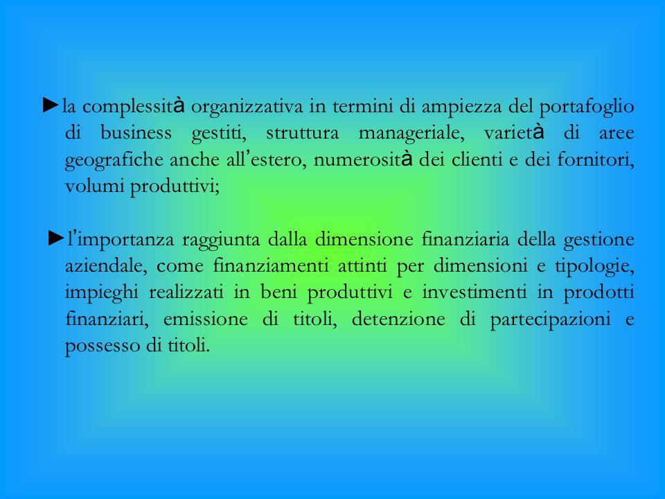 ►la complessit à organizzativa in termini di ampiezza del portafoglio di business gestiti, struttura manageriale, variet à di aree geografiche anche a