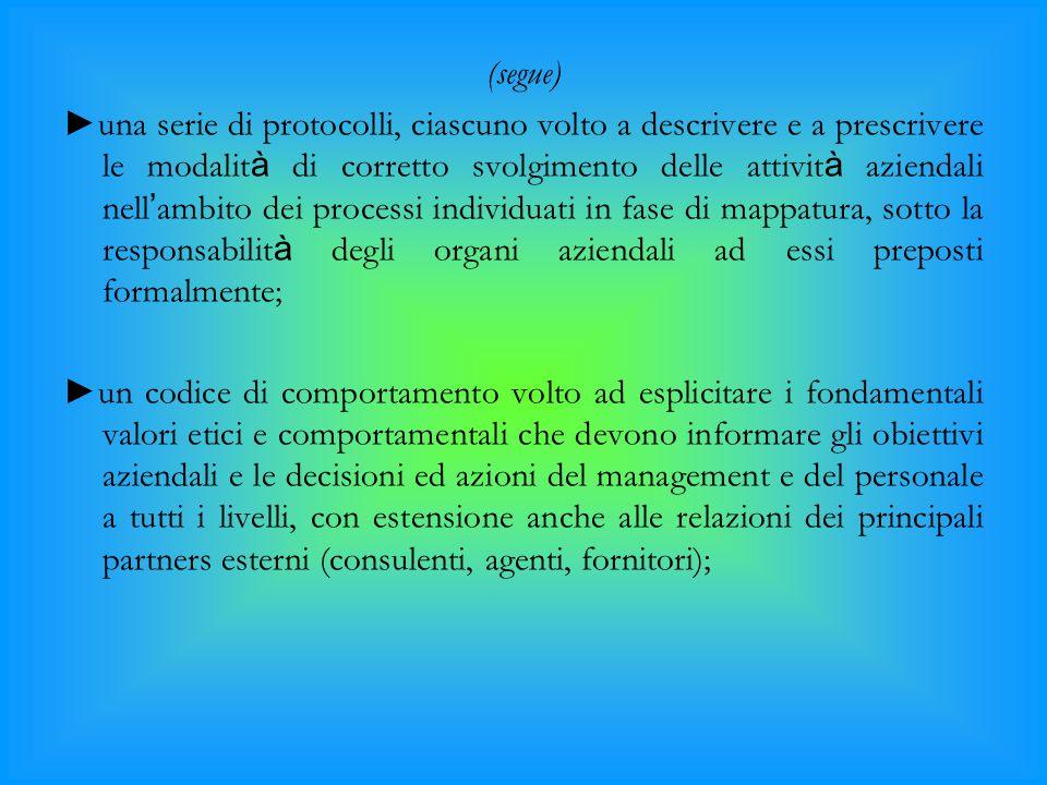 (segue) ►una serie di protocolli, ciascuno volto a descrivere e a prescrivere le modalit à di corretto svolgimento delle attivit à aziendali nell ' am