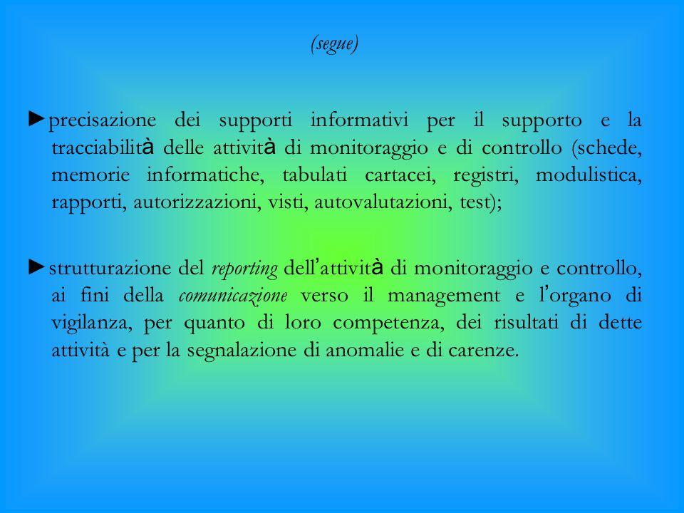 (segue) ►precisazione dei supporti informativi per il supporto e la tracciabilit à delle attivit à di monitoraggio e di controllo (schede, memorie inf
