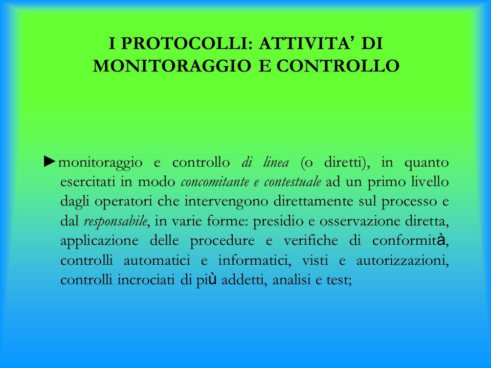 I PROTOCOLLI: ATTIVITA ' DI MONITORAGGIO E CONTROLLO ►monitoraggio e controllo di linea (o diretti), in quanto esercitati in modo concomitante e conte
