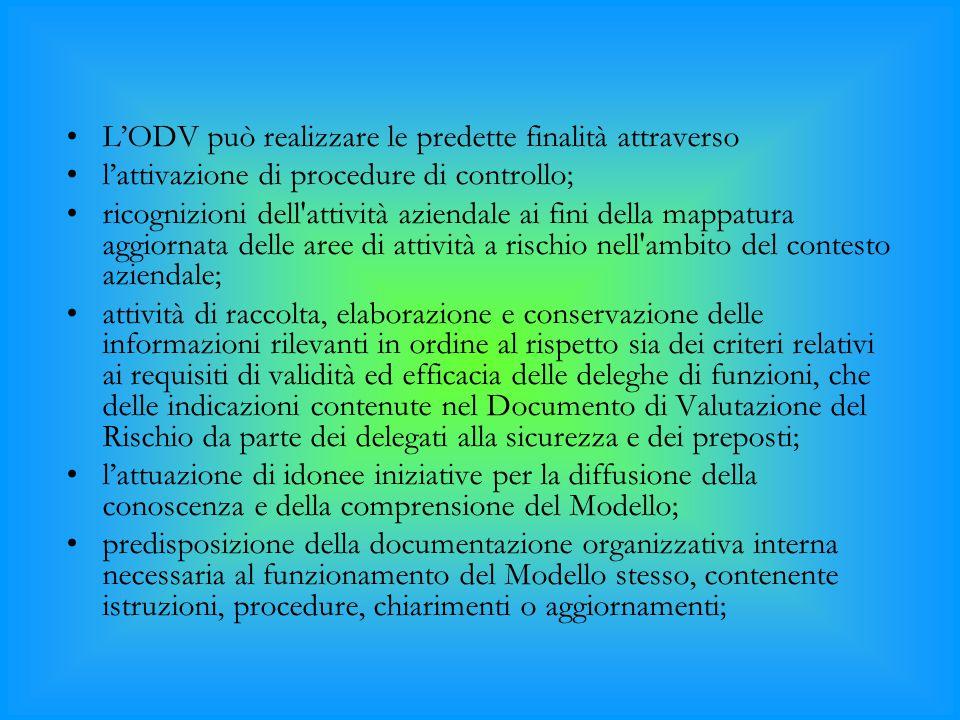 L'ODV può realizzare le predette finalità attraverso l'attivazione di procedure di controllo; ricognizioni dell'attività aziendale ai fini della mappa
