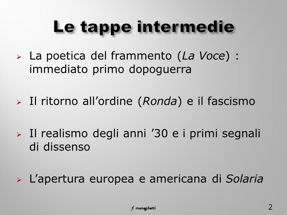  La poetica del frammento (La Voce) : immediato primo dopoguerra  Il ritorno all'ordine (Ronda) e il fascismo  Il realismo degli anni '30 e i primi segnali di dissenso  L'apertura europea e americana di Solaria 2 f.
