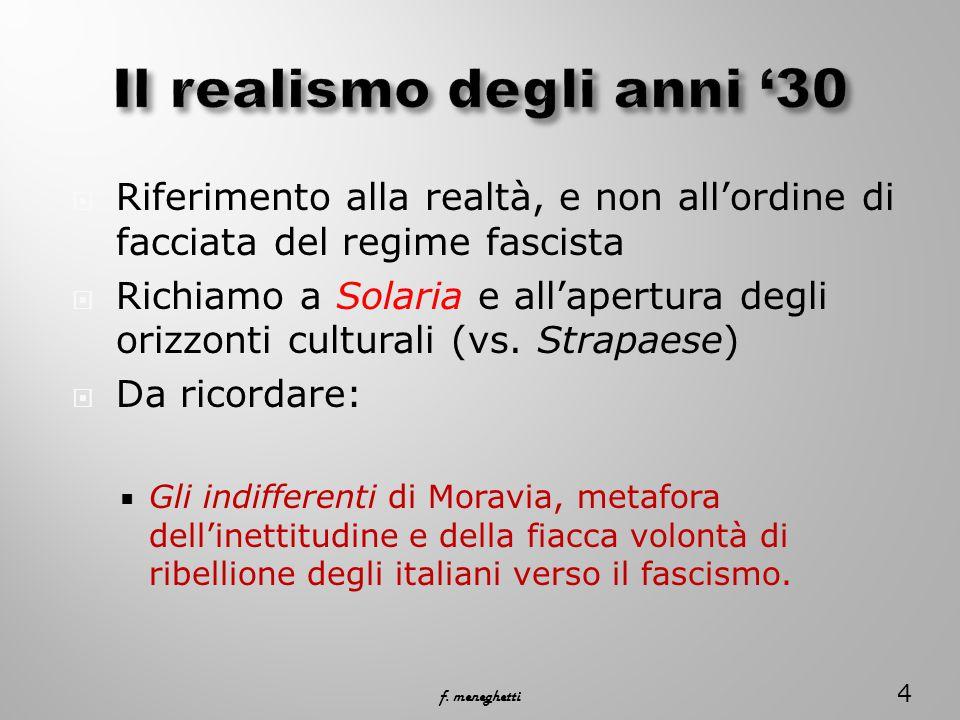  Riferimento alla realtà, e non all'ordine di facciata del regime fascista  Richiamo a Solaria e all'apertura degli orizzonti culturali (vs.