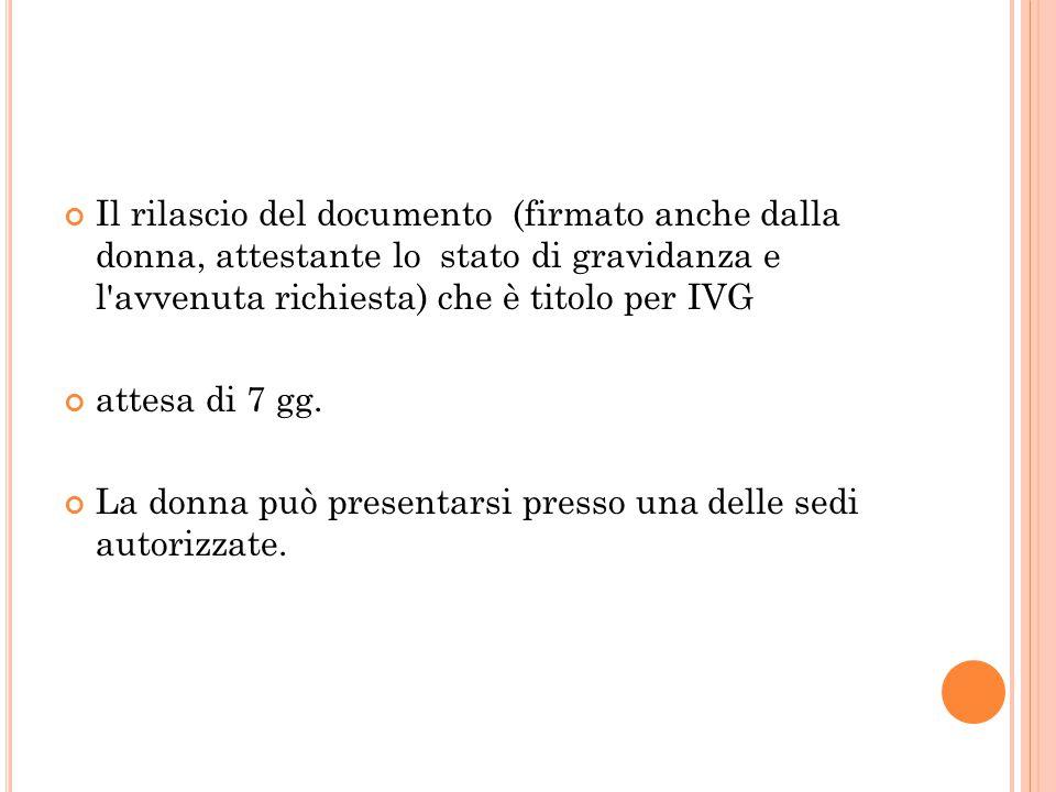 Il rilascio del documento (firmato anche dalla donna, attestante lo stato di gravidanza e l avvenuta richiesta) che è titolo per IVG attesa di 7 gg.