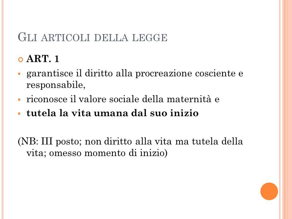 G LI ARTICOLI DELLA LEGGE ART.