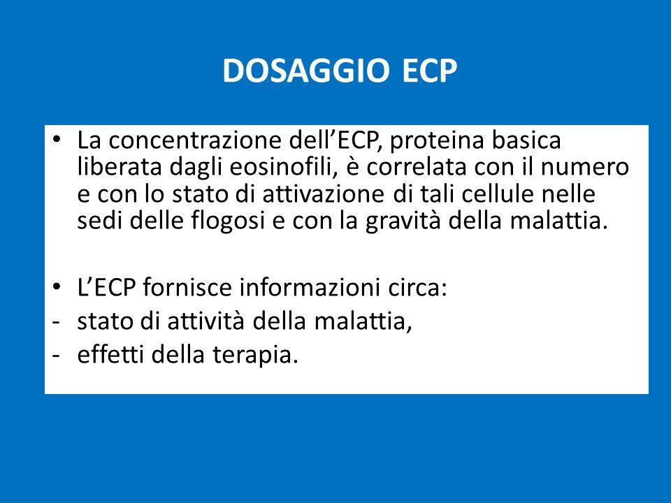 DOSAGGIO ECP La concentrazione dell'ECP, proteina basica liberata dagli eosinofili, è correlata con il numero e con lo stato di attivazione di tali cellule nelle sedi delle flogosi e con la gravità della malattia.