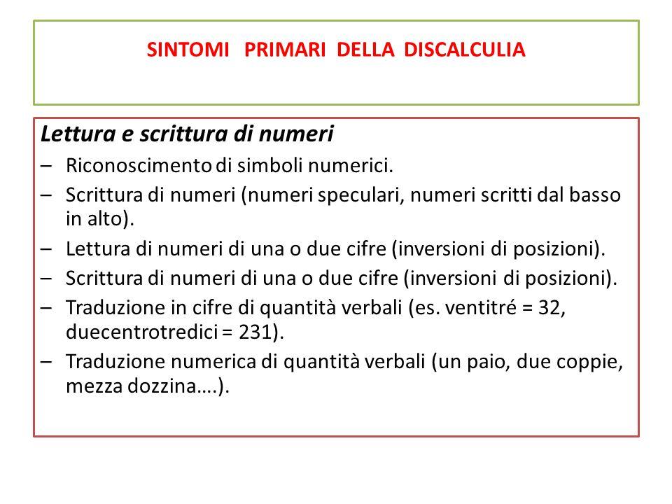 SINTOMI PRIMARI DELLA DISCALCULIA Lettura e scrittura di numeri –Riconoscimento di simboli numerici. –Scrittura di numeri (numeri speculari, numeri sc