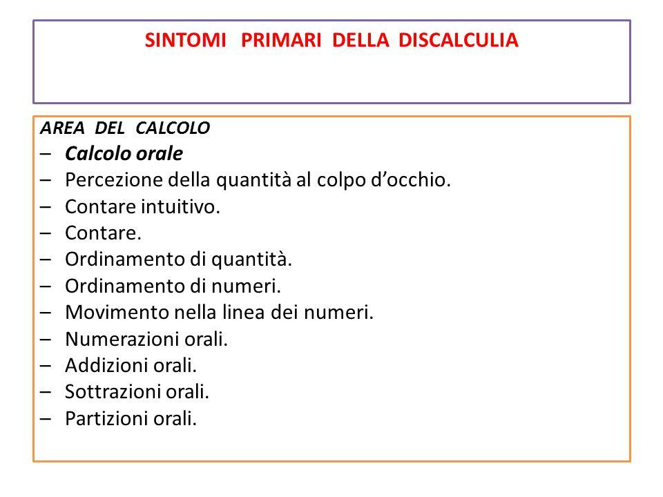 SINTOMI PRIMARI DELLA DISCALCULIA AREA DEL CALCOLO –Calcolo orale –Percezione della quantità al colpo d'occhio. –Contare intuitivo. –Contare. –Ordinam
