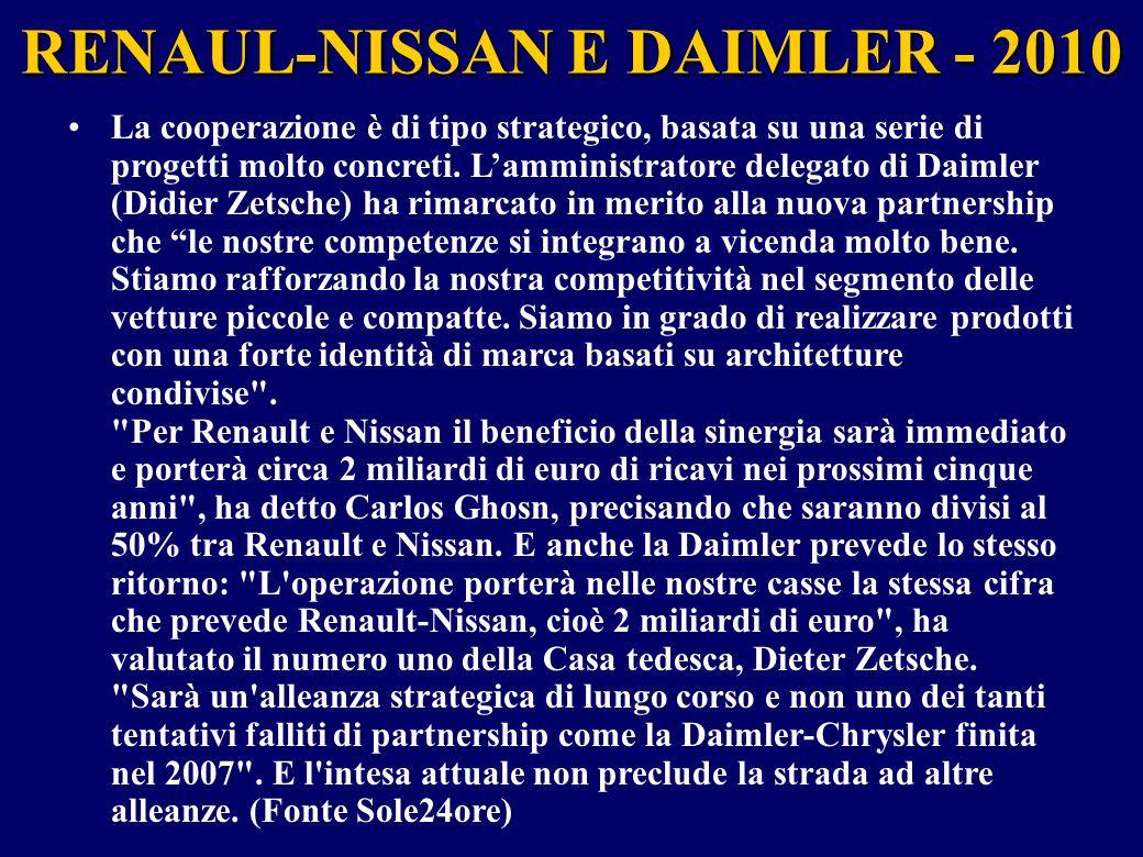 RENAUL-NISSAN E DAIMLER - 2010 La cooperazione è di tipo strategico, basata su una serie di progetti molto concreti. L'amministratore delegato di Daim