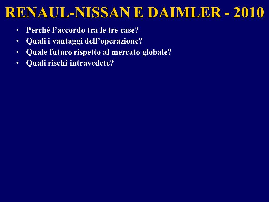 RENAUL-NISSAN E DAIMLER - 2010 Perché l'accordo tra le tre case? Quali i vantaggi dell'operazione? Quale futuro rispetto al mercato globale? Quali ris
