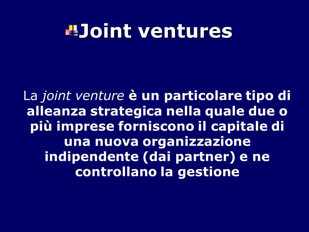 Joint ventures La joint venture è un particolare tipo di alleanza strategica nella quale due o più imprese forniscono il capitale di una nuova organiz
