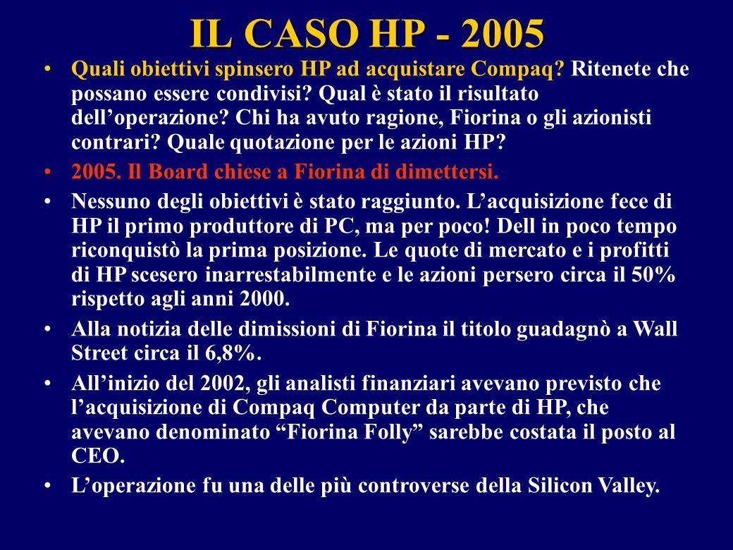 IL CASO HP - 2005 Quali obiettivi spinsero HP ad acquistare Compaq? Ritenete che possano essere condivisi? Qual è stato il risultato dell'operazione?