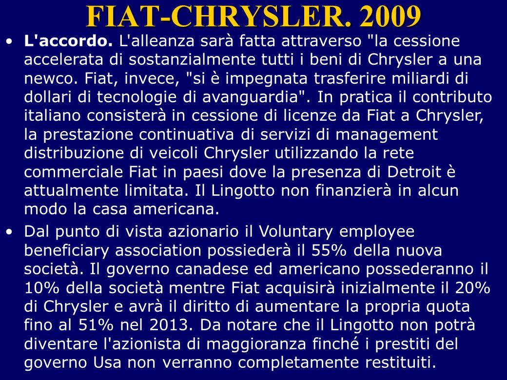 FIAT-CHRYSLER. 2009 L'accordo. L'alleanza sarà fatta attraverso