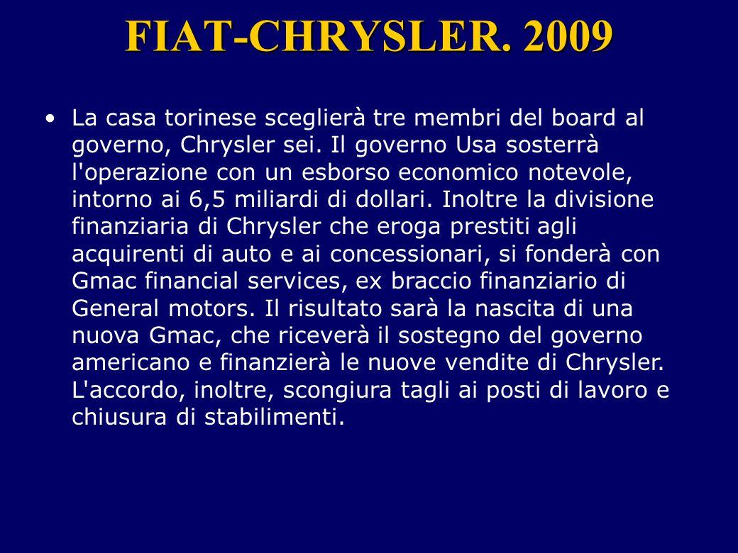 FIAT-CHRYSLER. 2009 La casa torinese sceglierà tre membri del board al governo, Chrysler sei. Il governo Usa sosterrà l'operazione con un esborso econ