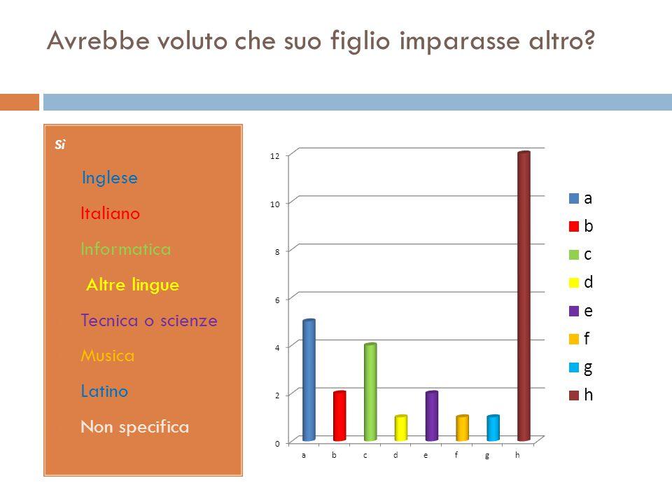 Sì A. Inglese B. Italiano C. Informatica D. Altre lingue E. Tecnica o scienze F. Musica G. Latino H. Non specifica