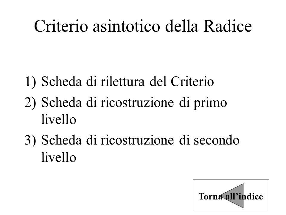 Criterio asintotico della Radice 1)Scheda di rilettura del Criterio 2)Scheda di ricostruzione di primo livello 3)Scheda di ricostruzione di secondo livello Torna all'indice