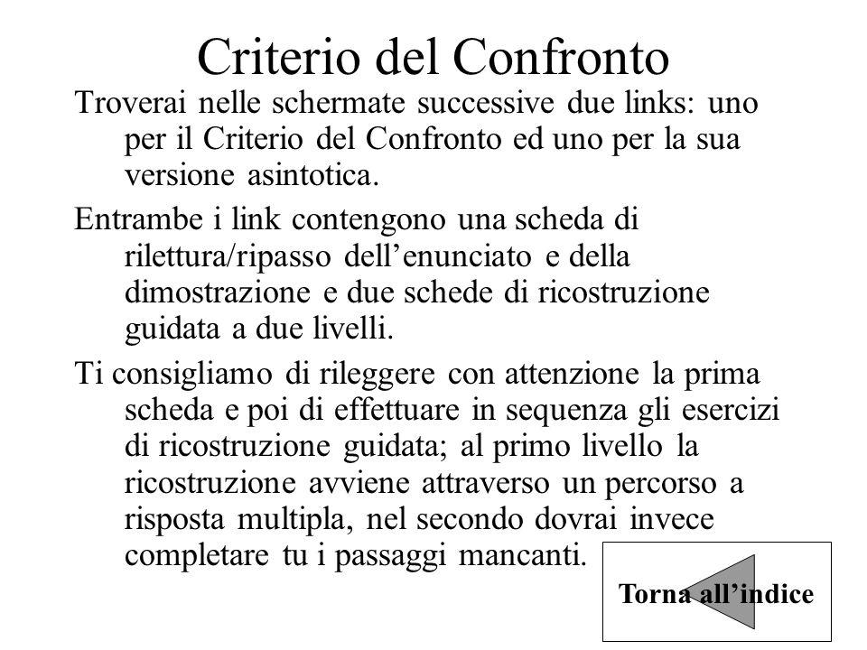 Criterio del Confronto Troverai nelle schermate successive due links: uno per il Criterio del Confronto ed uno per la sua versione asintotica.