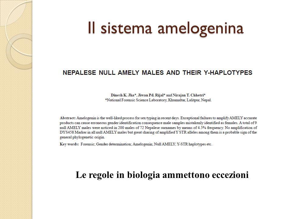 Il sistema amelogenina Le regole in biologia ammettono eccezioni