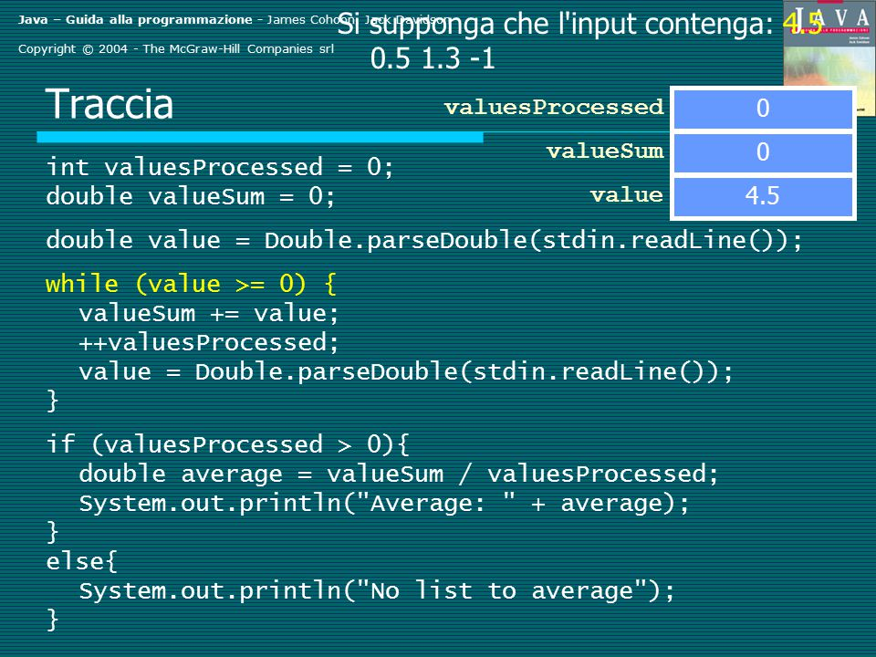 Java – Guida alla programmazione - James Cohoon, Jack Davidson Copyright © 2004 - The McGraw-Hill Companies srl Traccia int valuesProcessed = 0; double valueSum = 0; double value = Double.parseDouble(stdin.readLine()); while (value >= 0) { valueSum += value; ++valuesProcessed; value = Double.parseDouble(stdin.readLine()); } if (valuesProcessed > 0){ double average = valueSum / valuesProcessed; System.out.println( Average: + average); } else{ System.out.println( No list to average ); } valueSum value Si supponga che l input contenga: 4.5 0.5 1.3 -1 0 valuesProcessed 0 4.5
