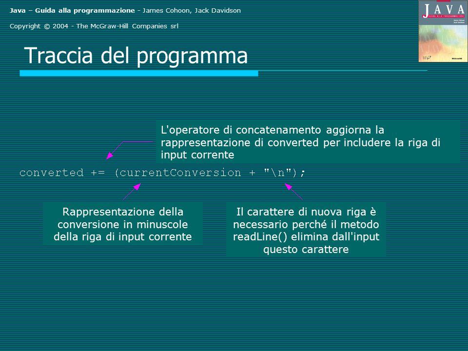 Java – Guida alla programmazione - James Cohoon, Jack Davidson Copyright © 2004 - The McGraw-Hill Companies srl Traccia del programma L'operatore di c