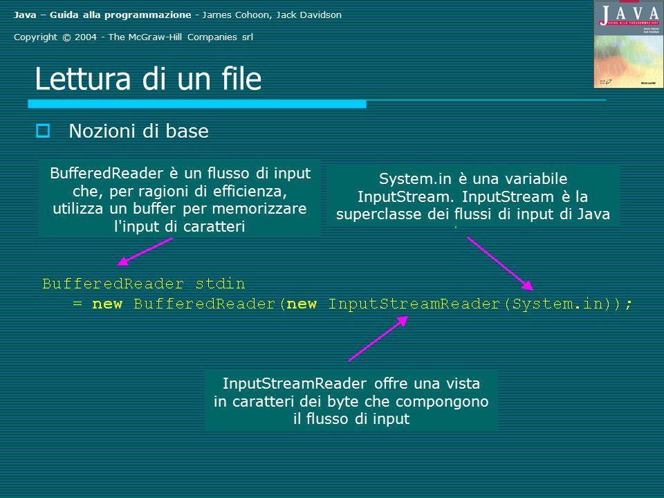 Java – Guida alla programmazione - James Cohoon, Jack Davidson Copyright © 2004 - The McGraw-Hill Companies srl Lettura di un file  Nozioni di base BufferedReader è un flusso di input che, per ragioni di efficienza, utilizza un buffer per memorizzare l input di caratteri System.in è una variabile InputStream.