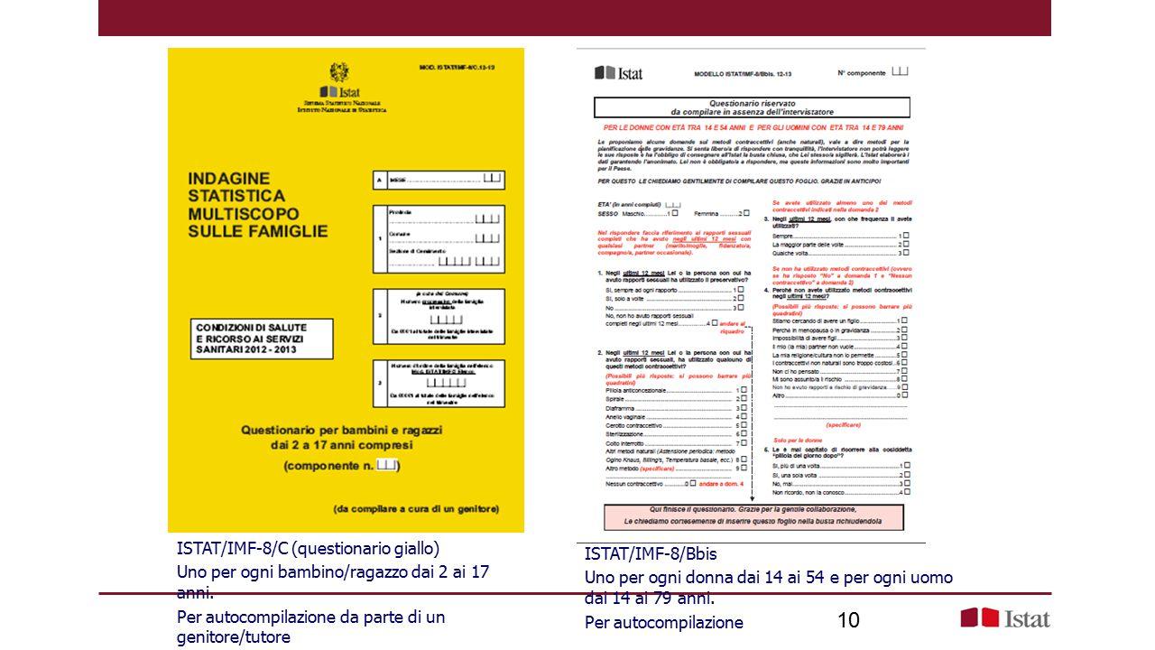 10 ISTAT/IMF-8/C (questionario giallo) Uno per ogni bambino/ragazzo dai 2 ai 17 anni.