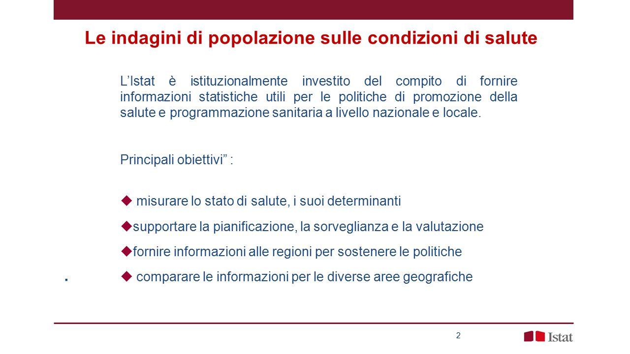 Le indagini di popolazione sulle condizioni di salute 2 L'Istat è istituzionalmente investito del compito di fornire informazioni statistiche utili per le politiche di promozione della salute e programmazione sanitaria a livello nazionale e locale.
