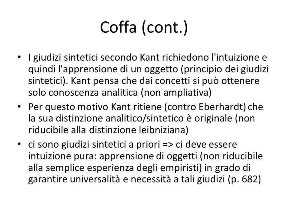 Coffa (cont.) I giudizi sintetici secondo Kant richiedono l'intuizione e quindi l'apprensione di un oggetto (principio dei giudizi sintetici). Kant pe