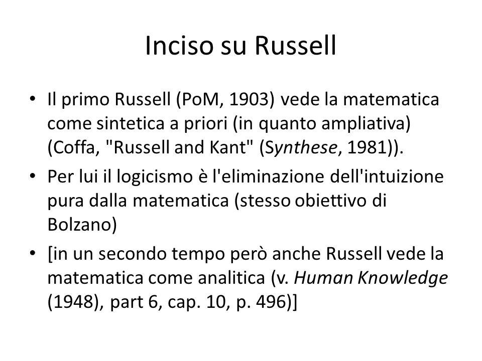 Inciso su Russell Il primo Russell (PoM, 1903) vede la matematica come sintetica a priori (in quanto ampliativa) (Coffa,