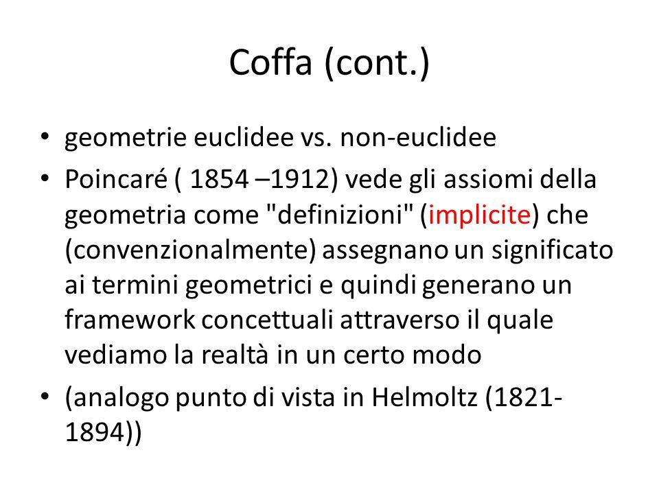 Coffa (cont.) geometrie euclidee vs. non-euclidee Poincaré ( 1854 –1912) vede gli assiomi della geometria come