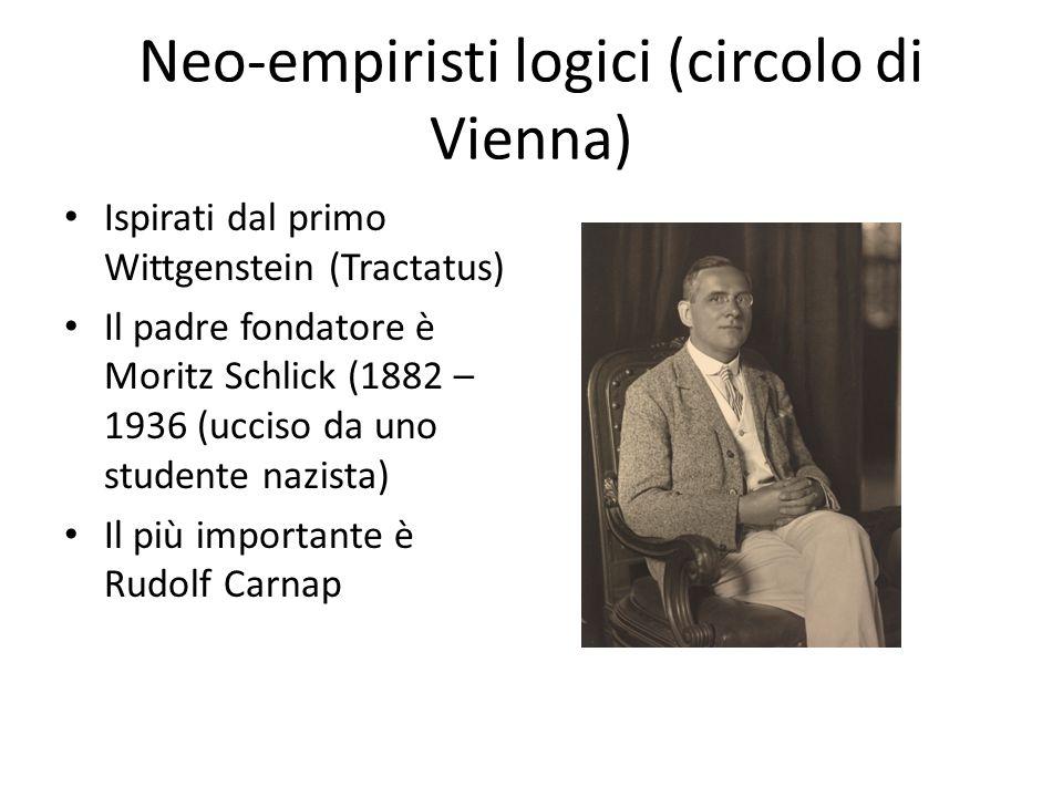 Neo-empiristi logici (circolo di Vienna) Ispirati dal primo Wittgenstein (Tractatus) Il padre fondatore è Moritz Schlick (1882 – 1936 (ucciso da uno s