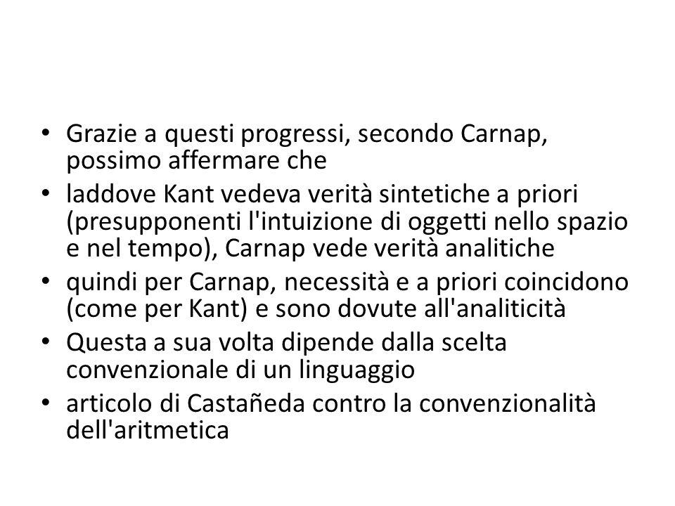 Grazie a questi progressi, secondo Carnap, possimo affermare che laddove Kant vedeva verità sintetiche a priori (presupponenti l'intuizione di oggetti