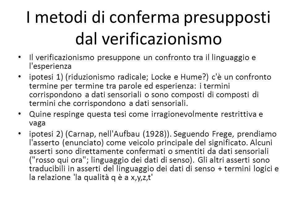 I metodi di conferma presupposti dal verificazionismo Il verificazionismo presuppone un confronto tra il linguaggio e l'esperienza ipotesi 1) (riduzio