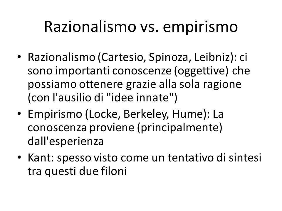 Razionalismo vs. empirismo Razionalismo (Cartesio, Spinoza, Leibniz): ci sono importanti conoscenze (oggettive) che possiamo ottenere grazie alla sola