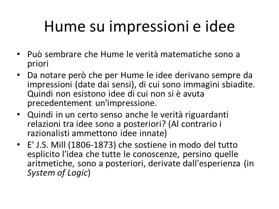 Hume su impressioni e idee Può sembrare che Hume le verità matematiche sono a priori Da notare però che per Hume le idee derivano sempre da impression
