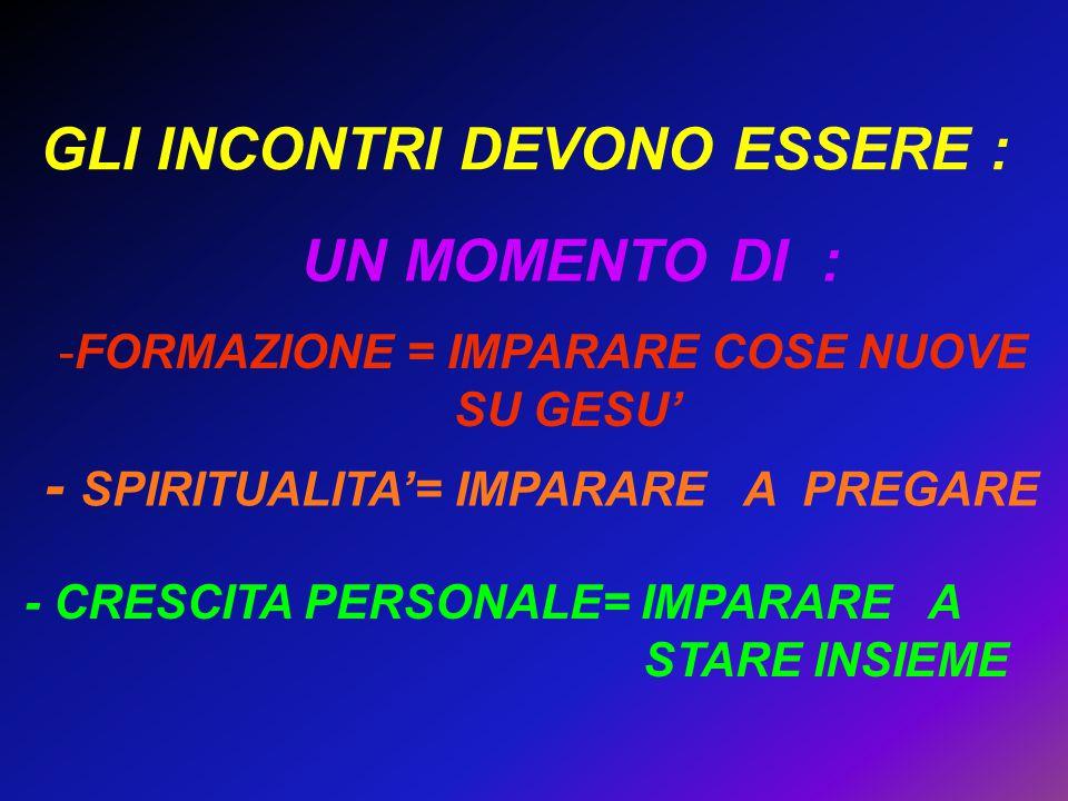 GLI INCONTRI DEVONO ESSERE : - CRESCITA PERSONALE= IMPARARE A STARE INSIEME - SPIRITUALITA'= IMPARARE A PREGARE -FORMAZIONE = IMPARARE COSE NUOVE SU G
