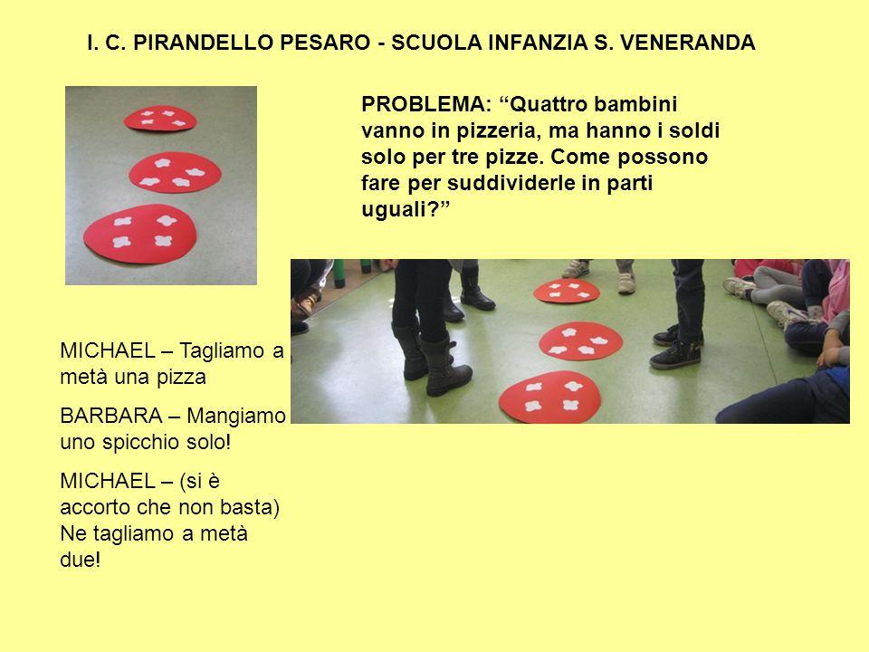 """I. C. PIRANDELLO PESARO - SCUOLA INFANZIA S. VENERANDA PROBLEMA: """"Quattro bambini vanno in pizzeria, ma hanno i soldi solo per tre pizze. Come possono"""